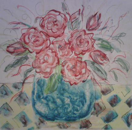 monoprint-1994-roses-in-vase