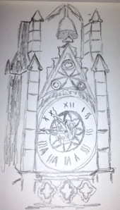 Matts sketch of the clock on the main gate