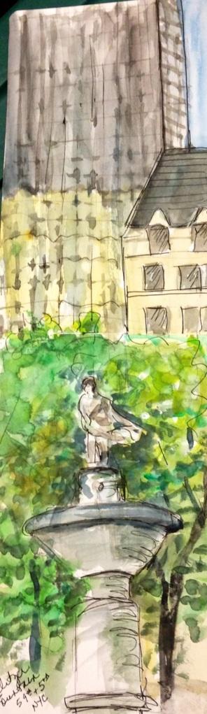 Pulitzer fountain - urban sketcheing 9-28-2013