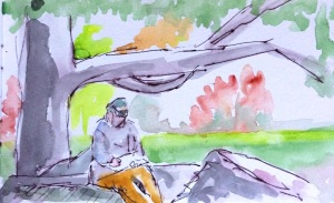 Urban Sketcher in the park