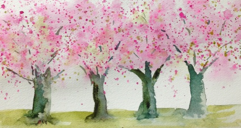 Cherry Blossom straw trees