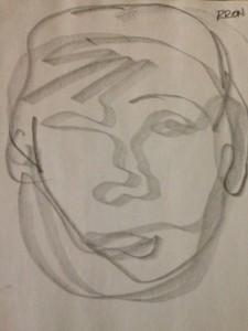 Blind contour portrait