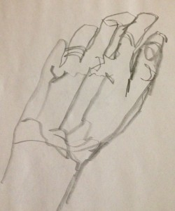 One hand blind contour