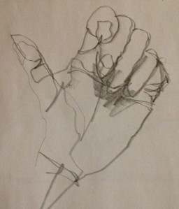 Thumbs up - blind contour