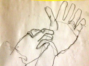 Two hands blind contour