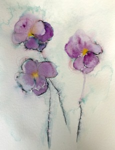 9 11 Loving Thoughts And Pansies Carol King Drawing