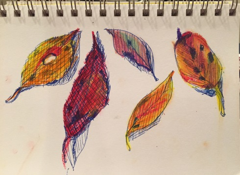 Inktober leaves with oil pastel color 10-4-15