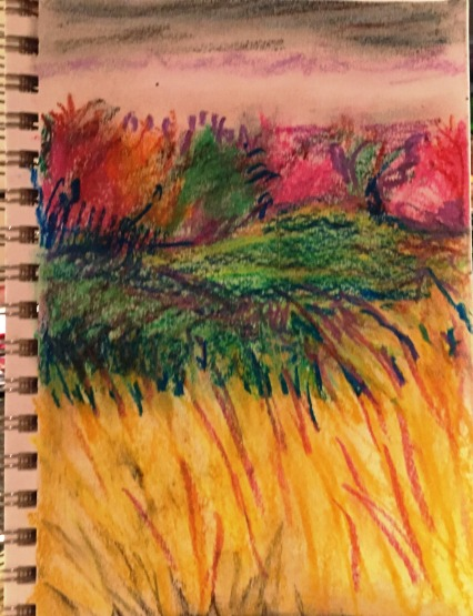 WNC landscape in oil pastel
